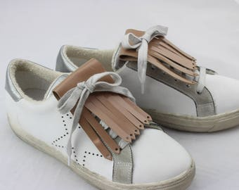Fringe leather beige powder for sneakers