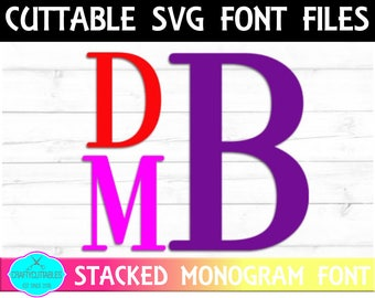 Stacked Font SVG, PNG Files Silhouette Cameo and Cricut Files