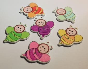 10 x Bumble Bee Wooden 2 hole buttons
