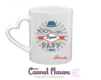 """Great father's day gift GRANDPA mug """"100% super Grandpa"""""""