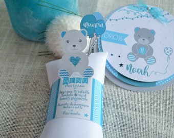 3 in 1: napkin, menu and mark up - Teddy bear pattern