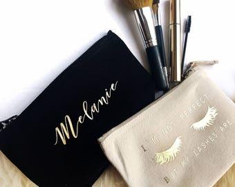 Beauty Gift | Personalised Makeup Bag | Custom Makeup Bag | Cosmetic Bag | Make Up Bag | Eyelash Makeup Bag | Gift for Her | Lashes