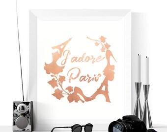 Rose Gold Art | J'adore Paris Printable | Paris Print | Rose Gold | Home Decor Art | Travel Print | Gold Paris Printableable