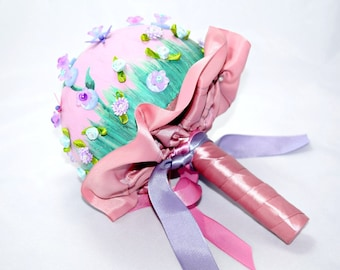 Pink Fairy Garden Bouquet Kitsch Bride Button Bouquet Butterflies