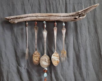 Driftwood Wind Chimes, Silverware and Beads Wind Chimes, Raku &Amazonite Beaded Wind Chimes,