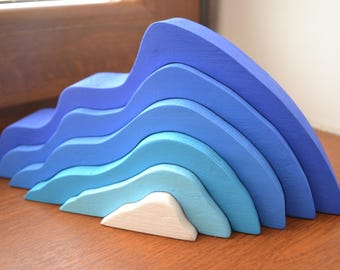 Stacking toy - Wooden iceberg - Wooden puzzle rainbow - Rainbow stacker - Montessori toy - Waldorf toy - DIY project