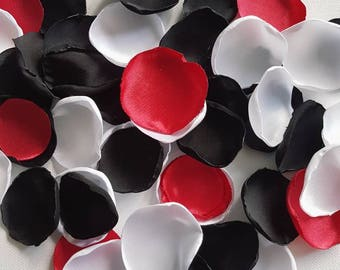 Red/ Black and white Rose Petals