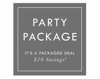 PARTY PACKAGES by Arbor Grace Collections. 7 Items Total. Saves 16 Dollars
