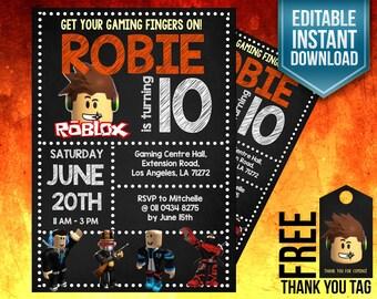 Roblox invitation, Roblox invite, Roblox birthday invitation, Roblox editable instant download, Roblox party, Roblox Printable, Roblox