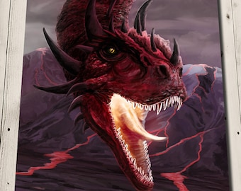 Fire Dragon Art - Dragon Print - Red Dragon Painting Print - Element Dragon - Fantasy Art Print - Volcano Print - Volcano Art - Dragon Gift