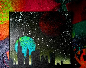 Outer Space canvas 'Solar' Spray paint graffiti