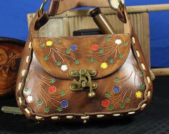 Luxury Leather Shoulder Bag With Floral Design