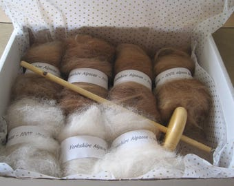 BEGINNERS DROP SPINDLE kit supplied with Whorl and 175 gms (6oz) Pure Alpaca Fleece (Last 5 left)