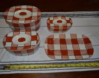 Vintage Orange Plaid Kikusui Japan China Canister Set
