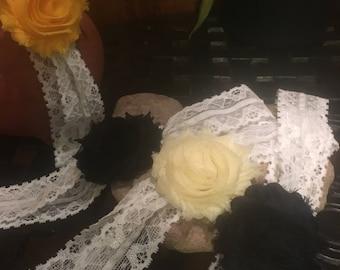 Lace Stretch Headbands, Rosette Headbands, Shabby Chic,