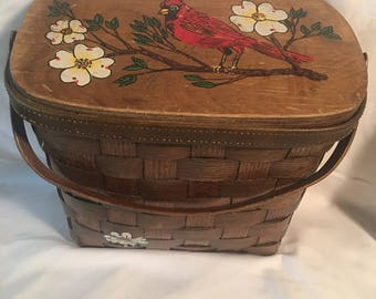 1960's Vintage Hand Painted Red Bird Woven Purse
