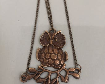 Owl on a twig necklace