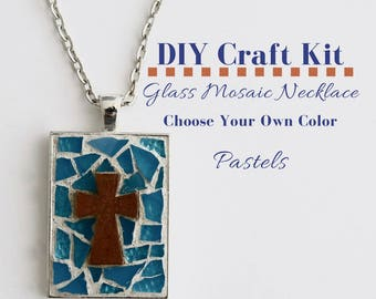 Cross Jewelry Making Kit, Mosaic Glass Necklace Youth Group Activity, Choose Your Own Colors, includes wooden cross, Silver Rectangle Bezel