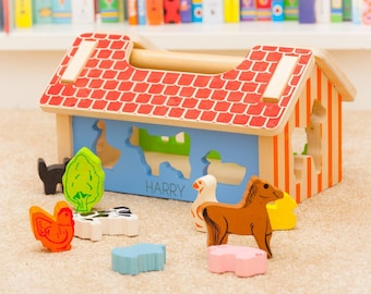 Personalised Farm Animal Wooden Shape Sorter Toy