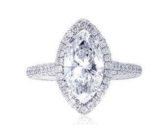 Elegant GIA certified marquise cut diamond ring