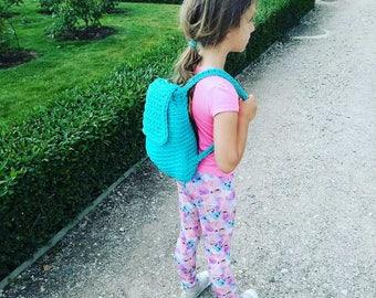 girl backpack, crochet backpack, handmade rucksack, knit girl's backpack, girl's bags, knitted backpack, gift for girl, small backpack