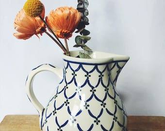 Blue and White Polish Pitcher