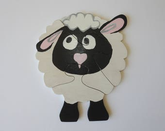 Wooden sheep, puzzle, wooden puzzle, educational toy, kids toy