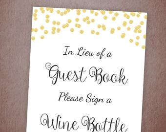 Please Sign a Wine Bottle Printable, Gold Confetti Guest Book Sign, Bridal Shower Sign, Wedding Shower Bottle Sign, Instant Download, A001