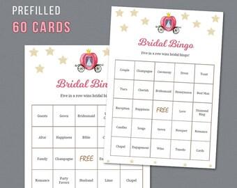 Cinderella 60 Prefilled Bridal Bingo Cards, Printable Bridal Shower Games, Bridal Words, Disney Fairy Tale Unique Bingo Cards and Mat, A012