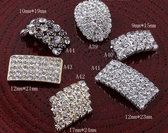 6styles Metal Rectangle/Arch Bridge Rhinestone Button Craft Alloy Flatback Crystal Buttons for Baby hair accessories