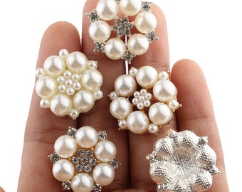 27MM Fashion Glass Plated Rhinestone Buttons For Wedding Invitation Silver Crystal Button For Weeding Decoration