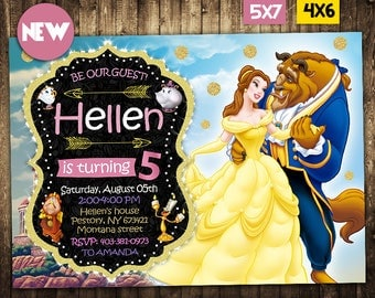 Beauty and the beast Invitation, Belle Invitation, Beauty and the beast, Beauty and the beast Invite, Beauty and the beast Birthday Party