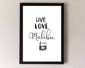 Malibu print, malibu gift, rum gift, malibu and coke, malibu lover, alcohol gifts, alcohol prints, bar sign, bar print, gifts for her, gift