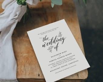 Editable Wedding Invitation Template, Printable Wedding Invitation, Wedding Invitation Printable, Wedding Invitation Download - KPC04_102