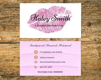 LipSense Business Card - 3.5x2 - Senegence Business Card - Pink and White - Pink Lips - Lipstick - Girl Boss - Lip Boss