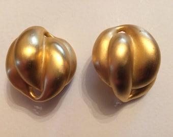 Lovely Large Matt Gold Domed Clip On Earrings