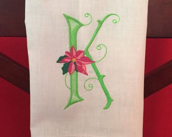 Monogrammed Christmas Guest/Powder Room Linen Towel