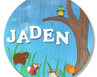 Personalized Woodland Nursery Wall Hanging, Woodland Nursery Wall Art, Personalized Baby Gift, Baby Name Sign, Custom New Baby Gift