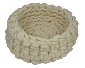 White basket large felt / cotton