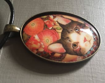 Cat, Kitten with Poppies, vintage style oval pendant