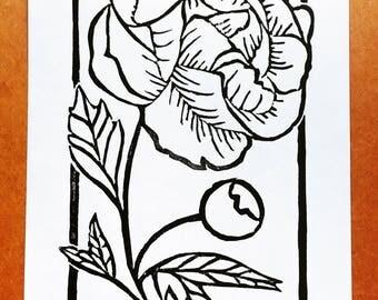 Peony | Linocut Print