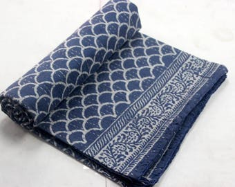 Hand made kantha quilt vintage 60x90 twin  size indigo throw hand stitched indigo blue maharab print kantha bedcover