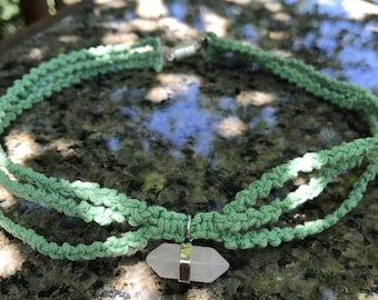 Mint Green Triple Strand Hemp Choker Necklace with Light Pink Crystal Pendant