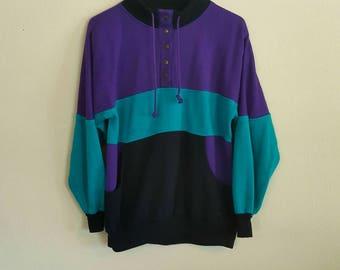 Vintage Purple, Turquoise, Black Sweater Jacket