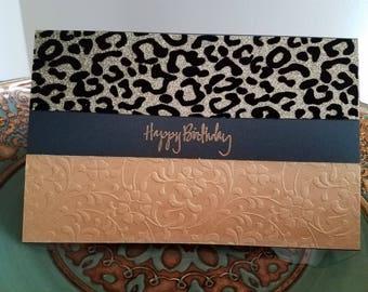 Gold Leopard Birthday Card
