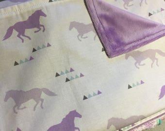 Horse Baby Blanket with Purple Minky - Baby Shower Gift - Bassinet/Pram size