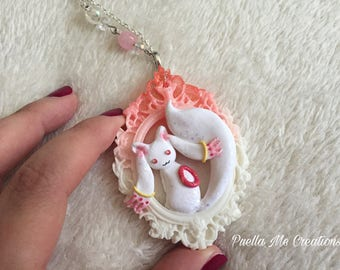 Kyubey Polymerclay necklace-Kyubey in fimo necklace