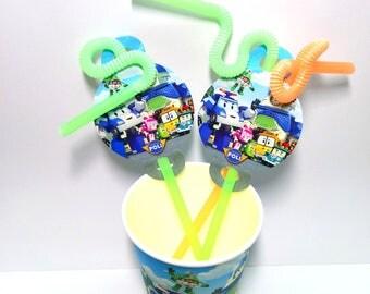 Robocar Poli Drinking straws MaXi 10 pcs. Drinking straws for children's birthday or party. Robocar Poli party straws.