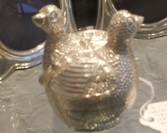 Silver Trinket Box in the form of a Pair of Geese.