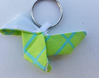 Green fabric origami keychain